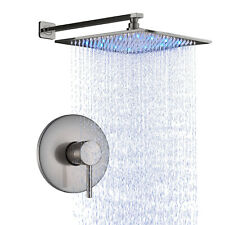 Bath Shower Faucet Set 12'' Rain Shower Mixer Tap LED Rain Head Brushed Nickel