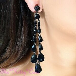 Vintage Deco Dramatic Jet Black Chandelier Drop Earrings w/ Swarovski Crystals