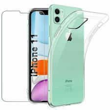 "For Apple iPhone 11 (6.1"") Case Clear Slim Gel Cover & Glass Screen Protector"