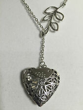 SILVER PLATED HEART ESSENTIAL OIL DIFFUSER INFINITE NECKLACE AROMATHERAPY OILS