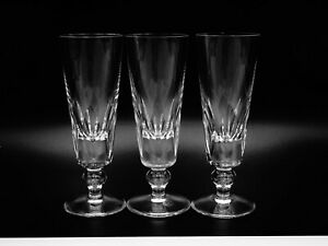 """3 RARE SAINT ST. LOUIS CRYSTAL """"JERSEY"""" FLUTED CHAMPAGNES FRENCH LINE SS FRANCE"""