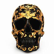 Small Resin Skull Head Gold Black Gothic Figure Ornament Desktop Spoof Decor