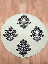 Modern cream white damask brown design round antislip treated rug 102x102cm