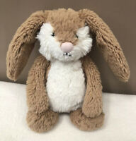 Jellycat Small Bashful Wriggle Bunny Rabbit Baby Soft Toy Comforter Brown Cream