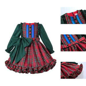 Kids Girls Spanish Grid Ruffled Dress Christmas Party Pageant Frilly Dresses US