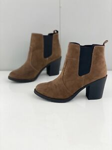 H&M Women's Suede Fabric Pull Up Elastic Block Heel Boots Size US 6 Brown