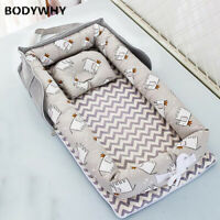 2020 Baby Crib Portable Bed Foldable Newborn Sleeping Mattress Cotton Bumper Top