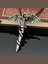 Flying Renaissance Dragon Sword Pendant Necklace