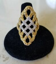 $4100 NEW JOHN HARDY 18k YELLOW GOLD DIAMOND AHIN WOVEN SADDLE RING 9.5 RECEIPT