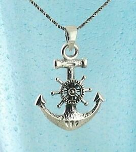 Anchor Helm Pendant ONLY - Nautical Sailor Ship Wheel Mariner 925 Silver wh309