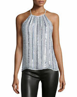 PARKER Silver Gray Iridescent Metallic Sequin Current Halter Top Size XS, S, M L