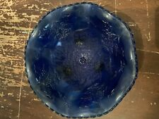 Vintage Fenton Cobalt Blue Glass Stag and Hollyberry Footed Bowl