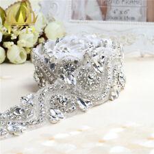 Bridal Wedding Sashes Rhinestone Trim 1 Yard Fix Stones Beaded Crystal Applique