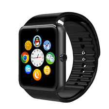 GT08 Smartwatch Schwarz Bluetooth Armbanduhr kompatibel mit iOS + Android