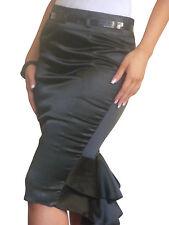 Ladies Skirt Stretch Satin Bodycon Pencil Midi Evening Size 8 10 12 14 16 18