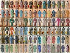 Indian Floral Printed Kimono Bath Robe Dressing Night Gown Cotton Kimono Robe UK