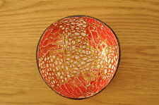 Handmade Decorative Coconut Bowl, Lacquered Inlaid With EggShell Red-Gold H065