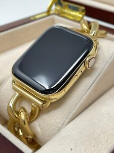 Custom 24k Gold Plated 44mm Apple Watch Series 6 Stainless Steel LTE+Blood O2
