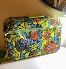 2PC VINTAGE 60'S MONTGOMERY WARD STRATOLITE GREEN POP FLORAL SUITCASE BAGS JAPAN