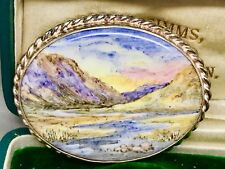 Beautiful Sterling Silver Handpainted Scottish Scene Brooch (great present)