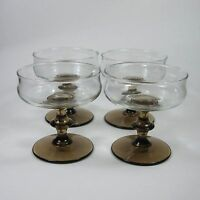 Libbey TULIP Sherbet Champagne Glasses Set of 4 Two-Tone Glass Tawny Brown Stem