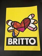 Romero Britto Heart Wings 💝Portfolio Pocket Folder Blue Pink Yellow 🌸