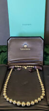 Tiffany & Co Graduated .925 Sterling Silver Bead Neckless w-Leather Pouch & Box