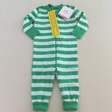 "HANNA ANDERSSON Baby Girls- Boys Green ""STRIPED"" Pajama, Size 0-3 months, 50 cm."