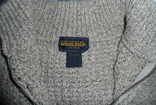 WOMENS WOOLRICH SWEATER -FULL FRONT ZIPPER - BROWN/OFF WHITE TWEED- SIZE SMALL