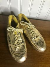Vintage Snakers Gold Tennis Shoes 8 Womens Snakeskin Reptile Sneakers 80s 1980s
