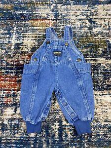 Vintage Osh Kosh Baby B'Gosh 3/6 MO Overalls Vestbak Blue Denim Elastic USA Made