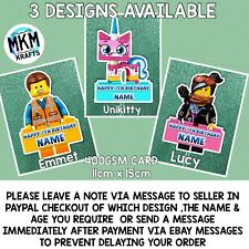 Lego Movie Inspired personalised Card Birthday cake topper Emmet Lucy Uni Kitty