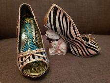 Irregular Choice Paw Print. Cat Heels. Rainbow Zebra print. Size 4.