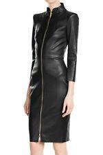 Women Sexy Genuine Leather Dress Bodycon Zipper Dress