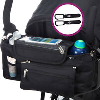 BTR Buggy Organiser Bag Prams & Detachable Zipped Purse & 2 x Pram Hooks / Clips