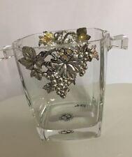 """Arthur Court GRAPE  Ice Bucket Glass Silver Fancy 5.5"""" France"""