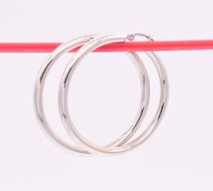 """3mm X 40mm 1 1/2"""" Plain Shiny Polished Round Hoop Earrings REAL 14K White Gold"""