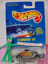 1995 oc Hot Wheels 3-WINDOW '34 Ford #257 ∞ variant Silver- 3sp