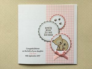 Handmade Personalised New Baby Girl Card Bear