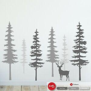 Pine Tree Wall Art Sticker Nursery Decal Child's Bedroom Scandinavian Nature