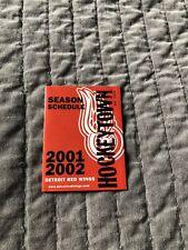 2001-2002 NHL HOCKEY DETROIT RED WINGS GAME POCKET SCHEDULE EX