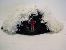 Antique Masonic Knights Templar Chapeau Hat Ostrich Feathers black & white 7 1/8