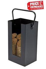 Black Metal Firewood Log Holder Scuttle Hod Storage Box Fireplace Briquette Wood