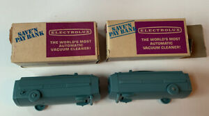 Vintage Lot Of 2 Electrolux Miniature Vacuum Cleaner Piggy Banks With Boxes