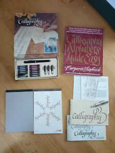 Vintage Calligraphy Set by Sheaffer Pen Manual 13 Color Catridges 4 Nibs Book