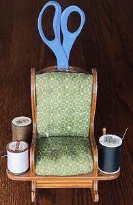 VTG DOLL WOODEN ROCKING CHAIR PIN CUSHION  Holds Scissors,Thread Spools & Pins