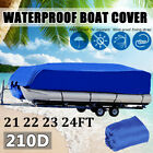 """Waterproof Boat Cover Cover Heavy Duty UV Dust Protection Fits 21""""-24"""" Pontoon"""