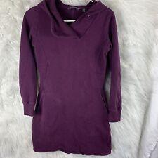 Toad & Co Tendresse Hooded Dress Plum Sweater Fleece Woman XS