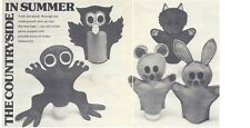 Childs Owl Fox Frog Mouse Rabbit Felt Glove Puppets Diagrm Sewing Pattern S10034