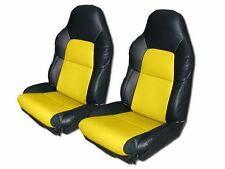 CHEVY CORVETTE C4 STANDARD 94-96 BLACK/YELLOW S.LEATHER CUSTOM FIT SEAT COVER